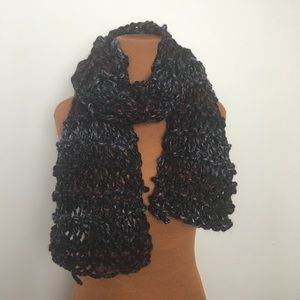 Handmade chunky knit scarf, black, gray , red